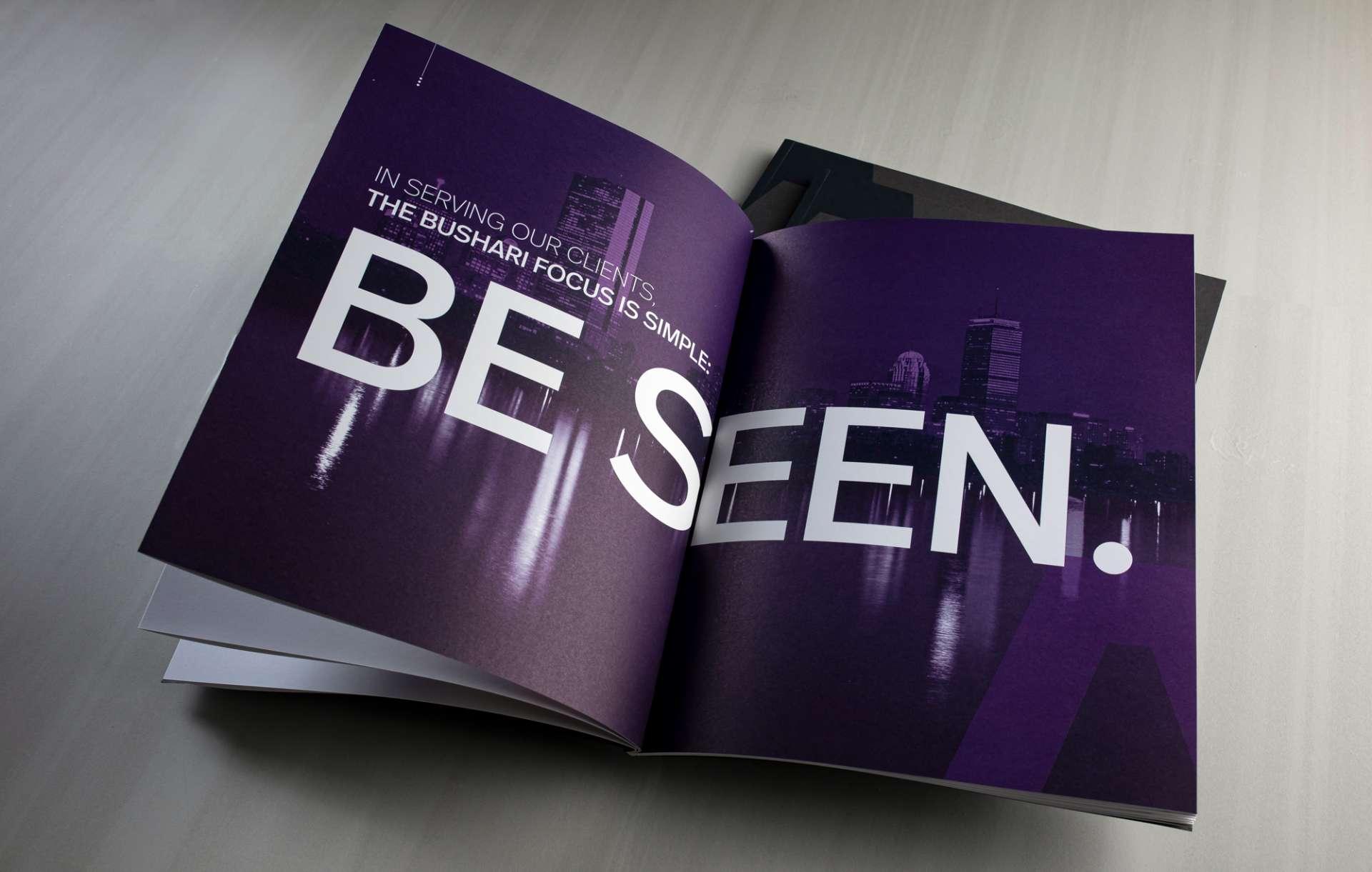 Collateral kit print marketing design for real estate brand Bushari