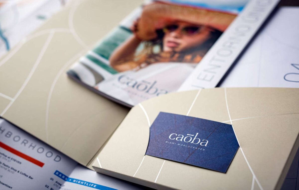 Print collateral kit design for Caoba