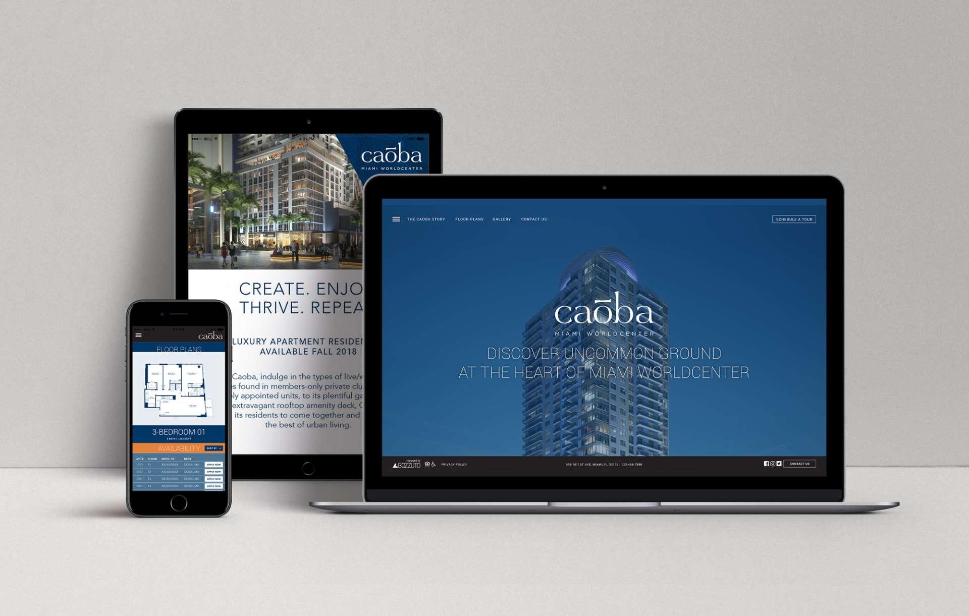 Website design for Caoba displayed on desktop, tablet and phone