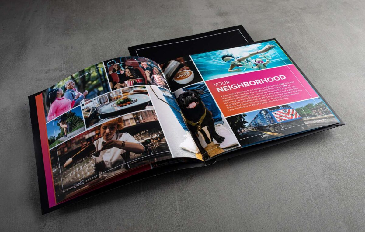Neighborhood feature spread from print collateral kit design for ONE Wheeling Town Center