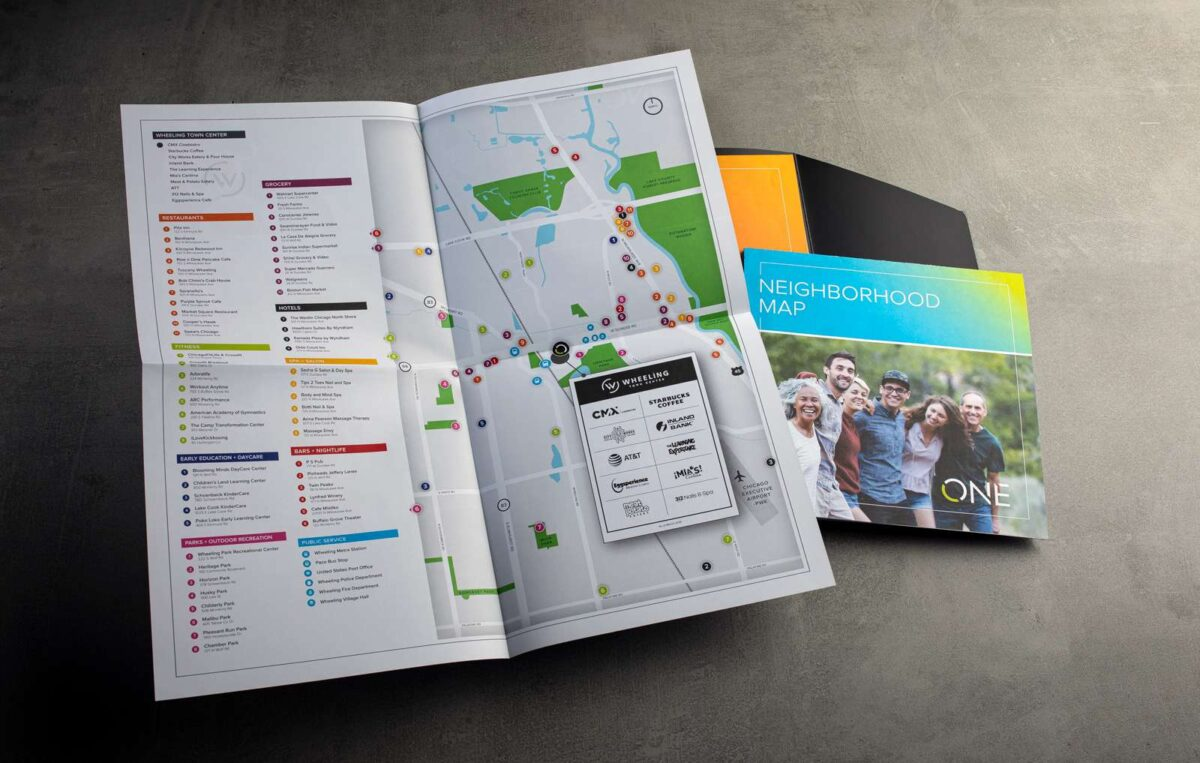 Map foldout spread from print collateral kit design for ONE Wheeling Town Center