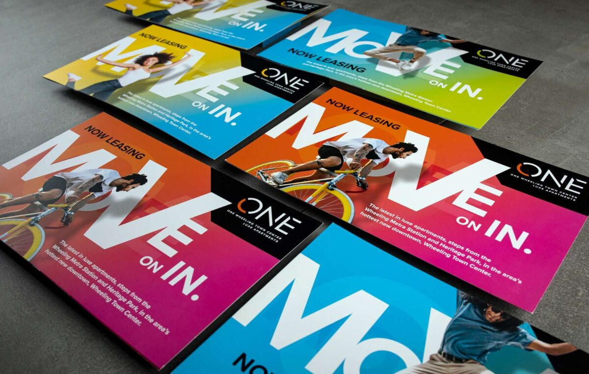 Direct mail campaign created for ONE Wheeling Town Center using the MOVE creative campaign