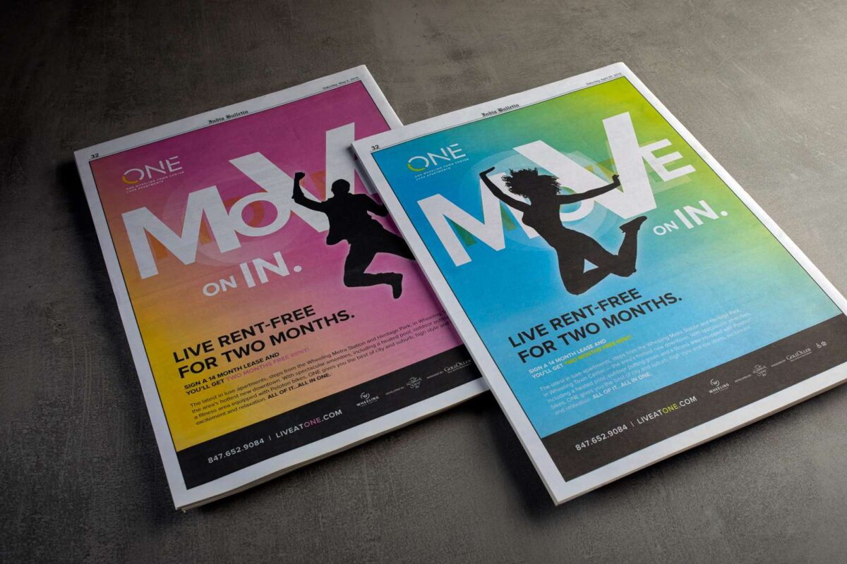 Print ad created for ONE Wheeling Town Center using the creative MOVE ad campaign