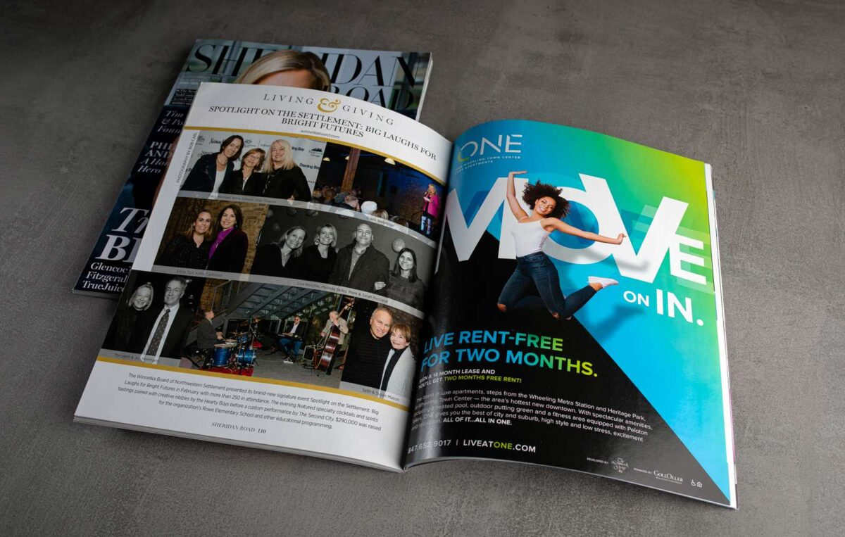 Print advertisement design in magazine for ONE Wheeling Town Center using MOVE creative campaign