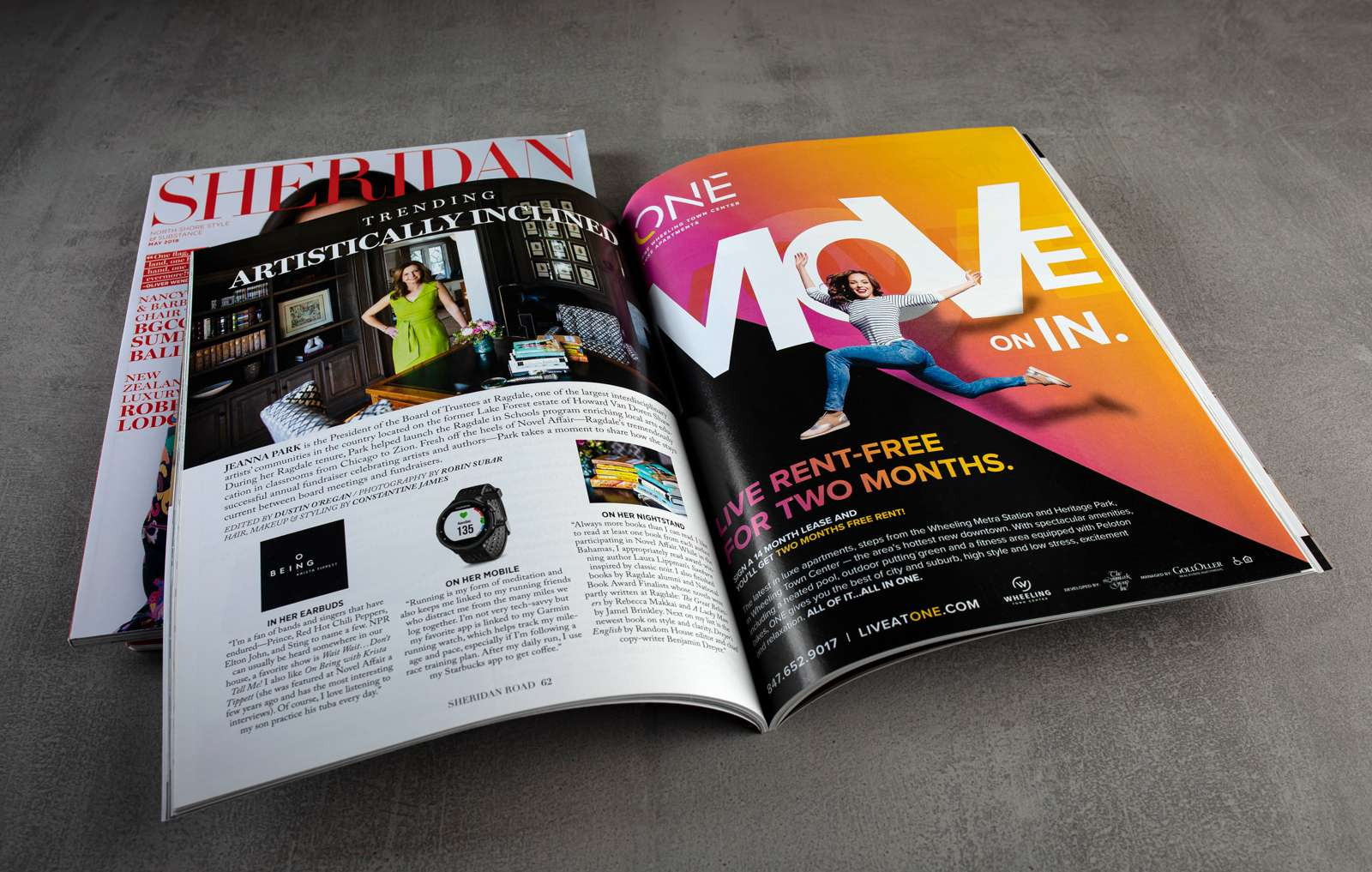 Print advertisement design in magazine for ONE Wheeling Town Center