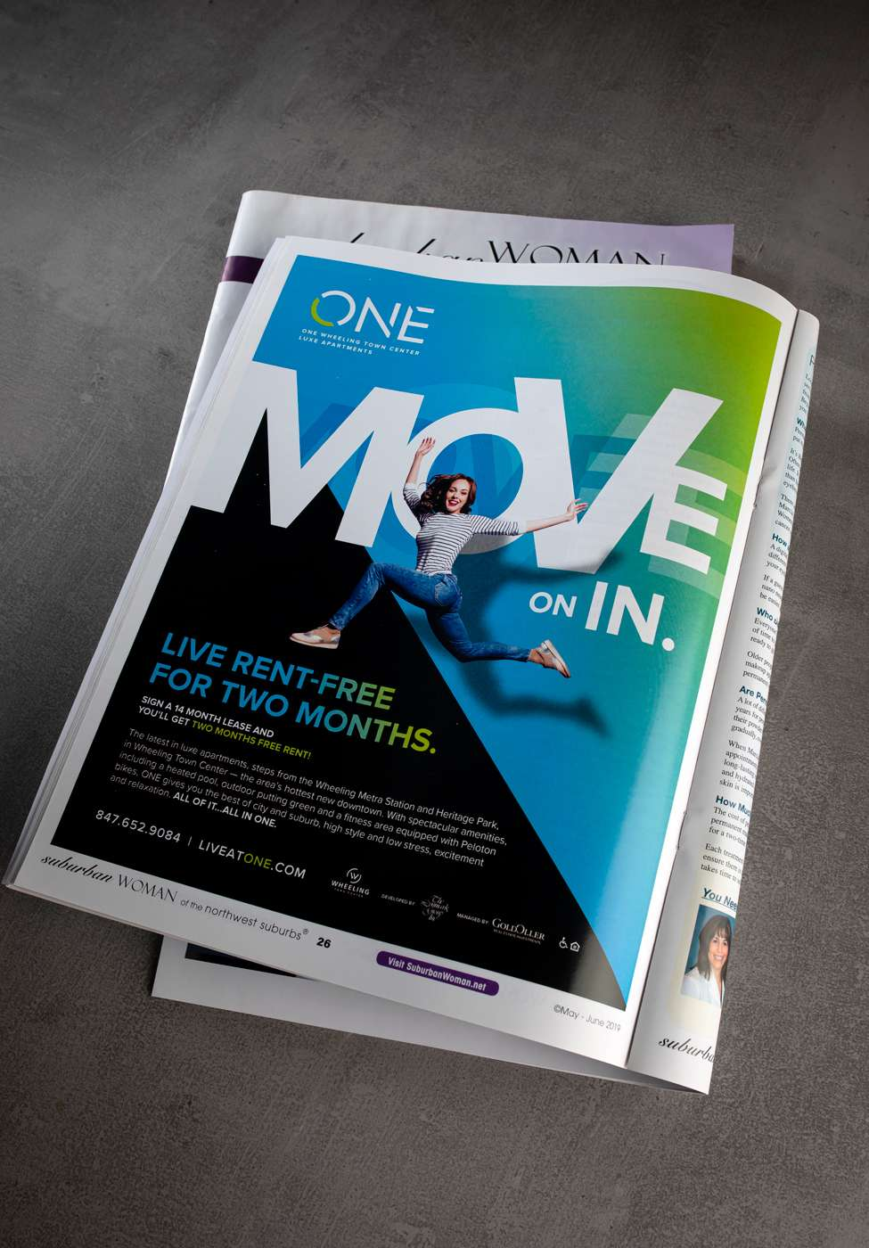 Print magazine ad created for ONE Wheeling Town Center using the MOVE creative campaign