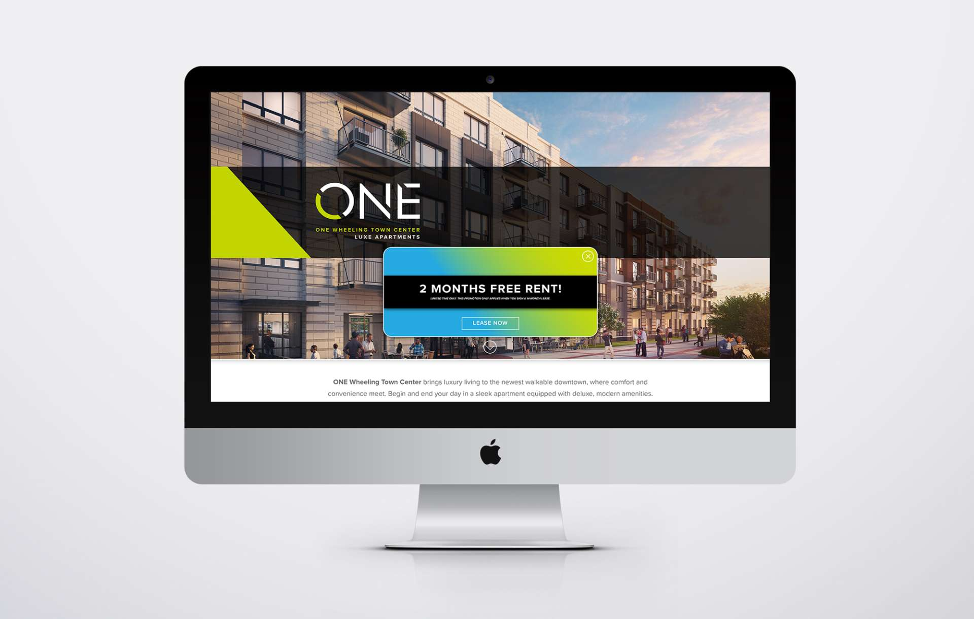 ONE Wheeling Town Center website homepage on a desktop computer
