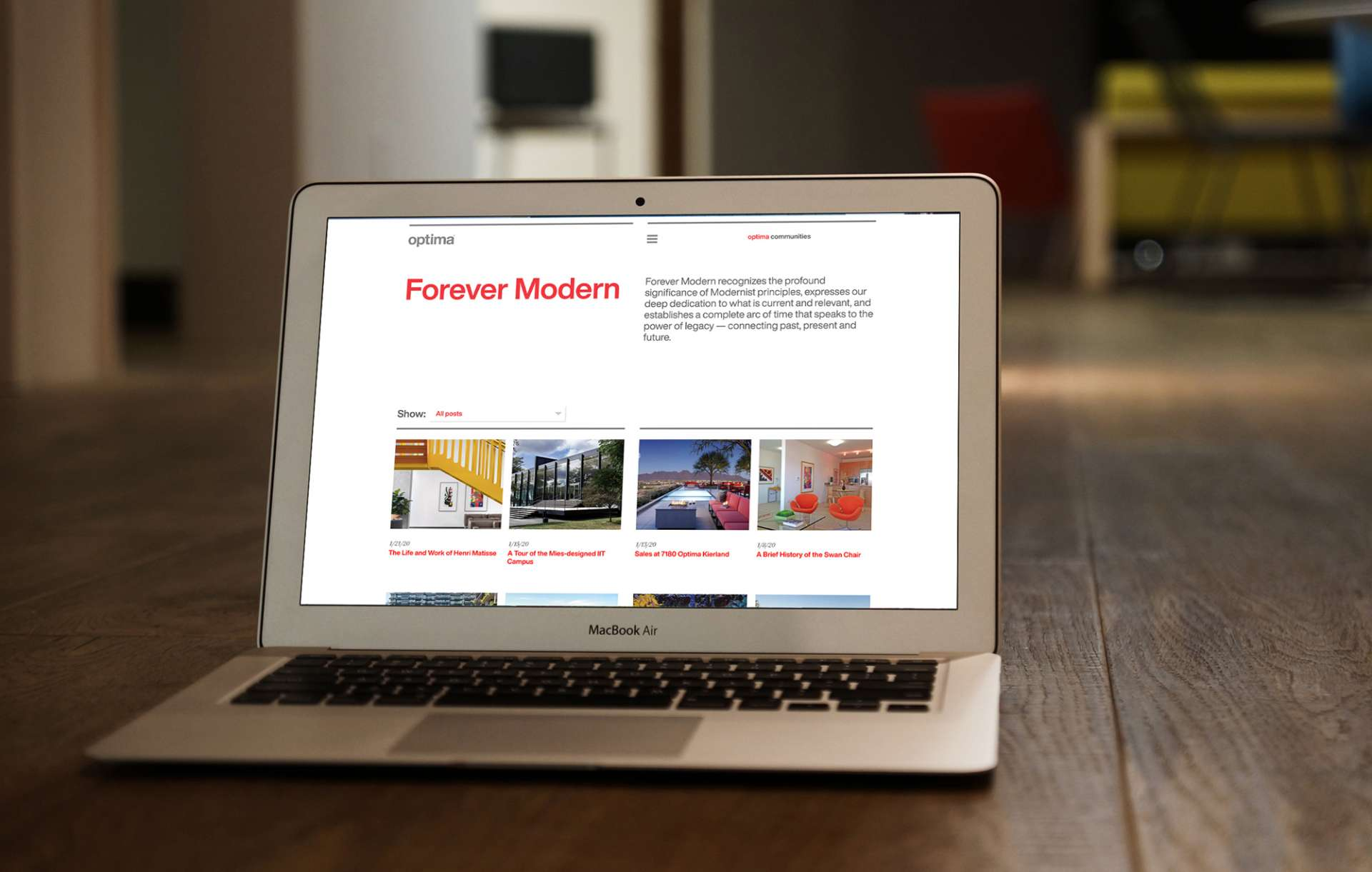 Website design for Chicago real estate design firm Optima