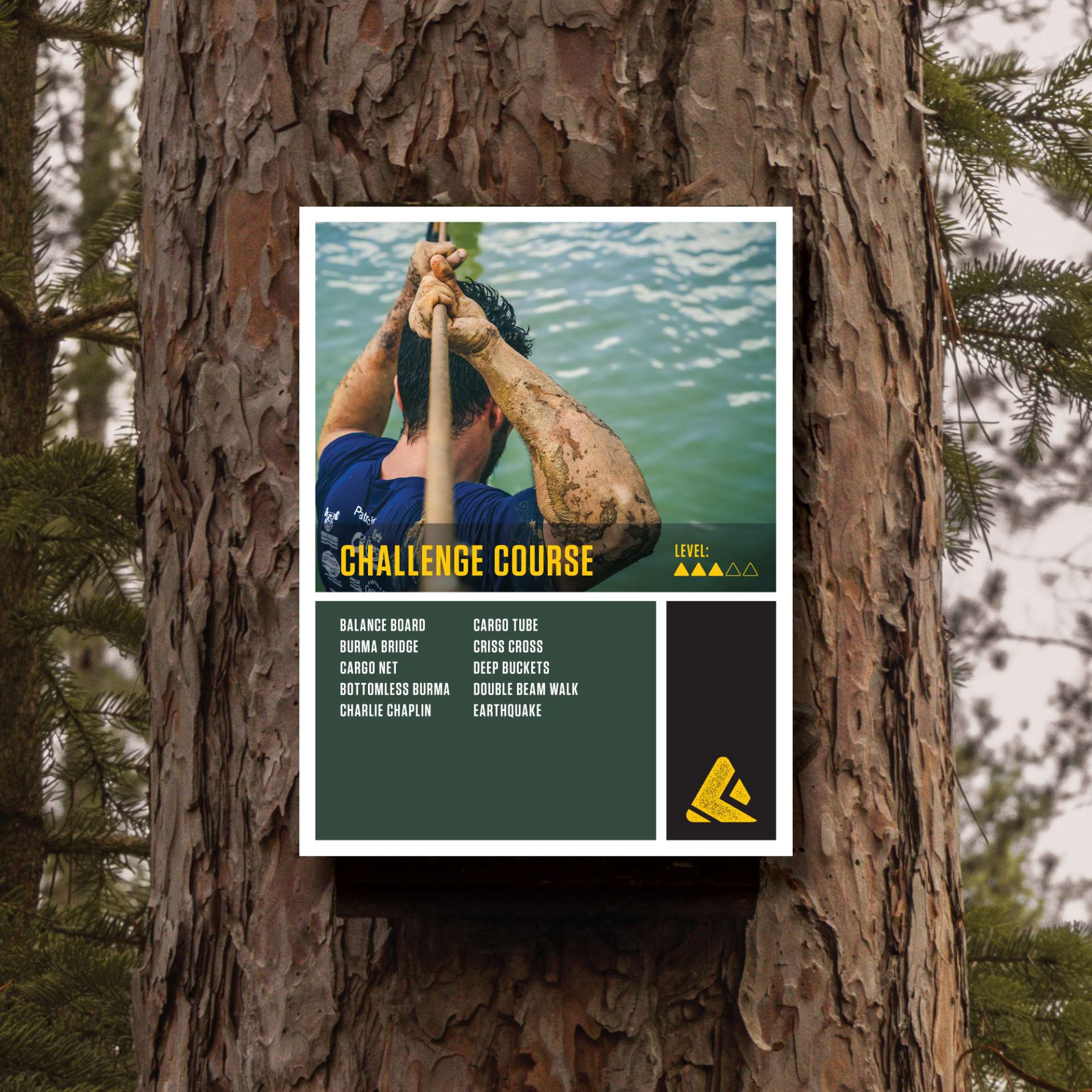 Challenge course signage for The Forge adventure park affixed to a tree