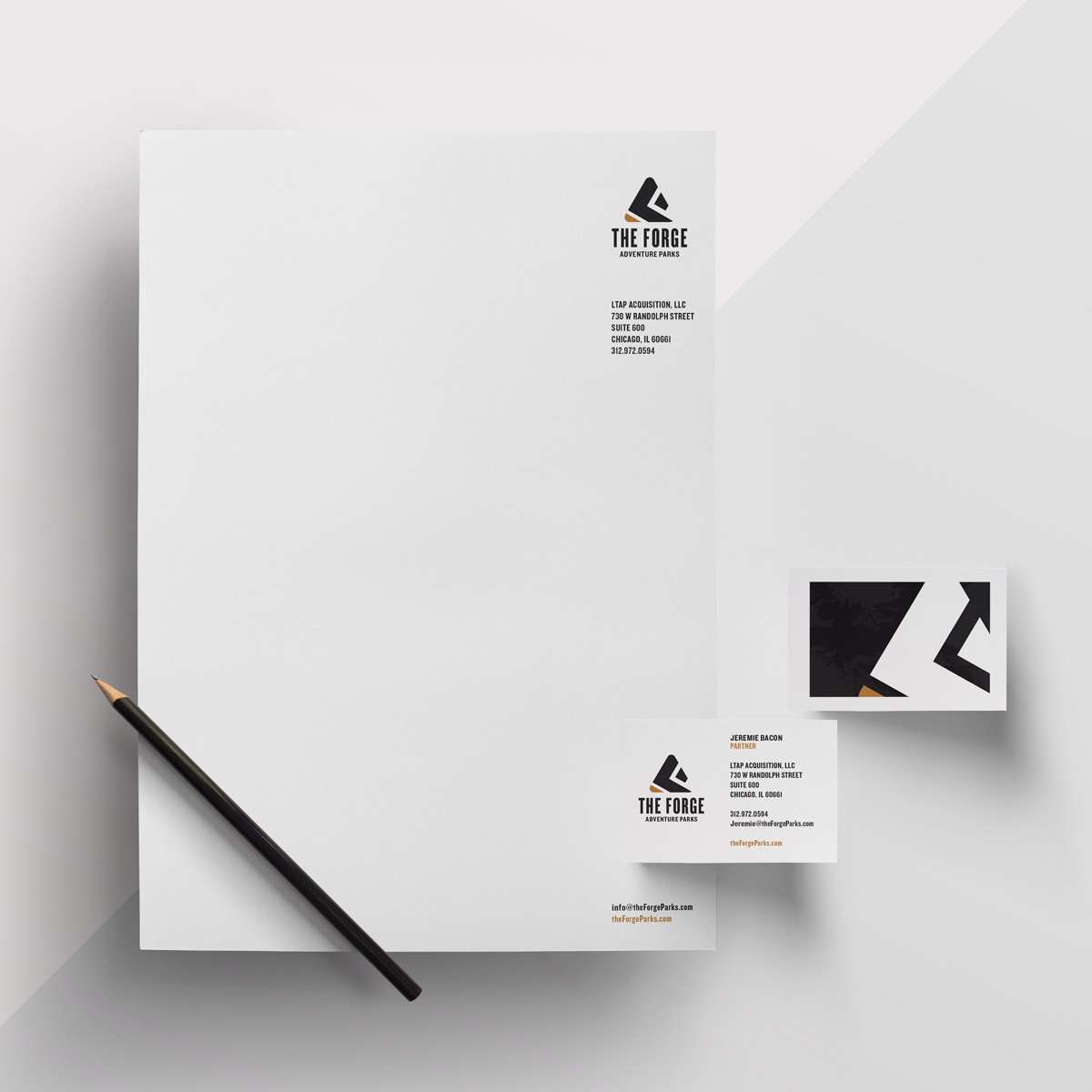 Stationery design for The Forge novel outdoor experience