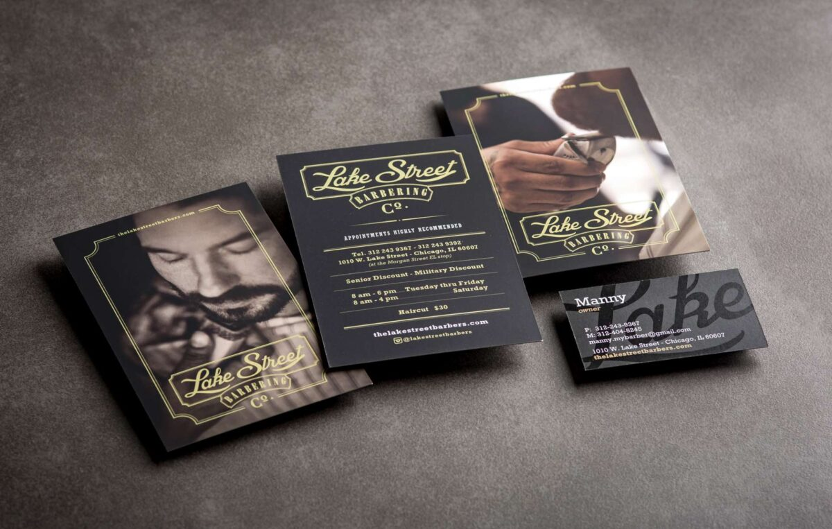Print collateral kit design for Lake Street Barbers