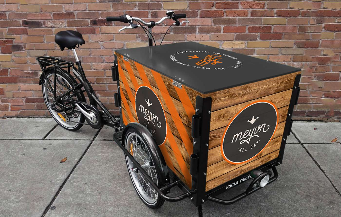 Delivery bicycle signage designed for Meyvn restaurant