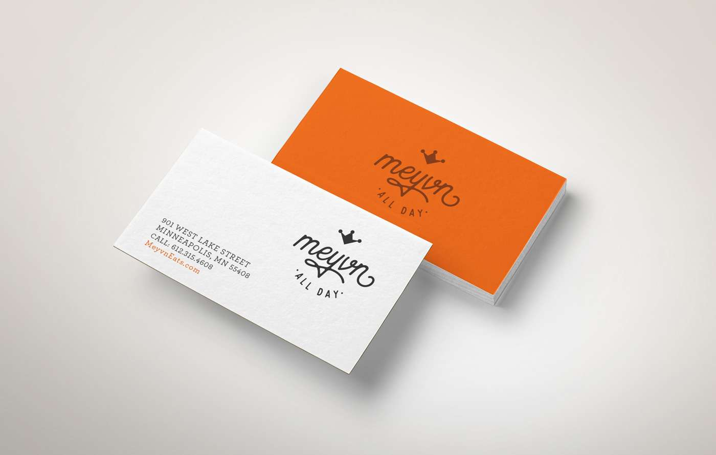 Business cards designed for retail dining experience Meyvn