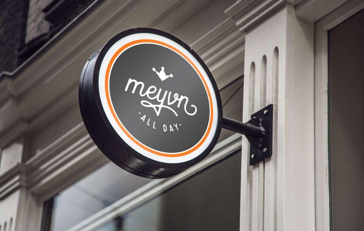 Signage designed for Meyvn restaurant with logo