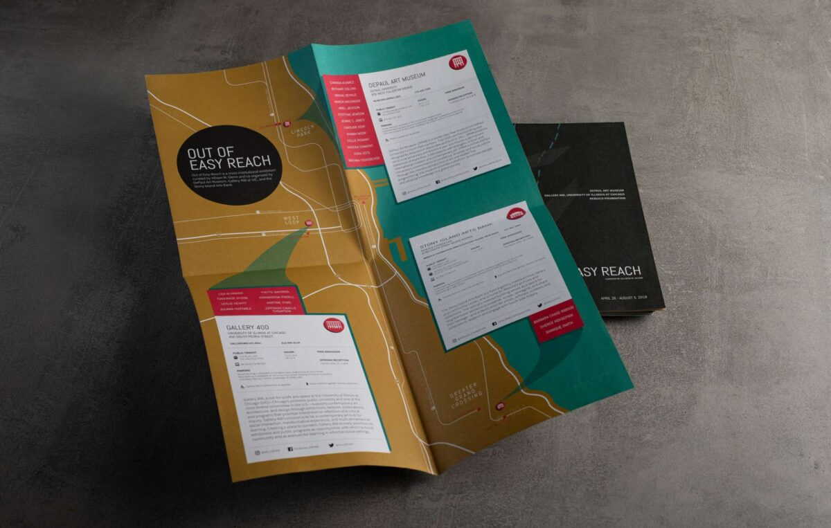 Printed exhibit catalogue designed for Out of Easy Reach at the DePaul Art Museum in Chicago.