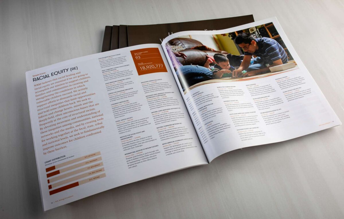 Annual report design for nonprofit WK Kellogg Foundation