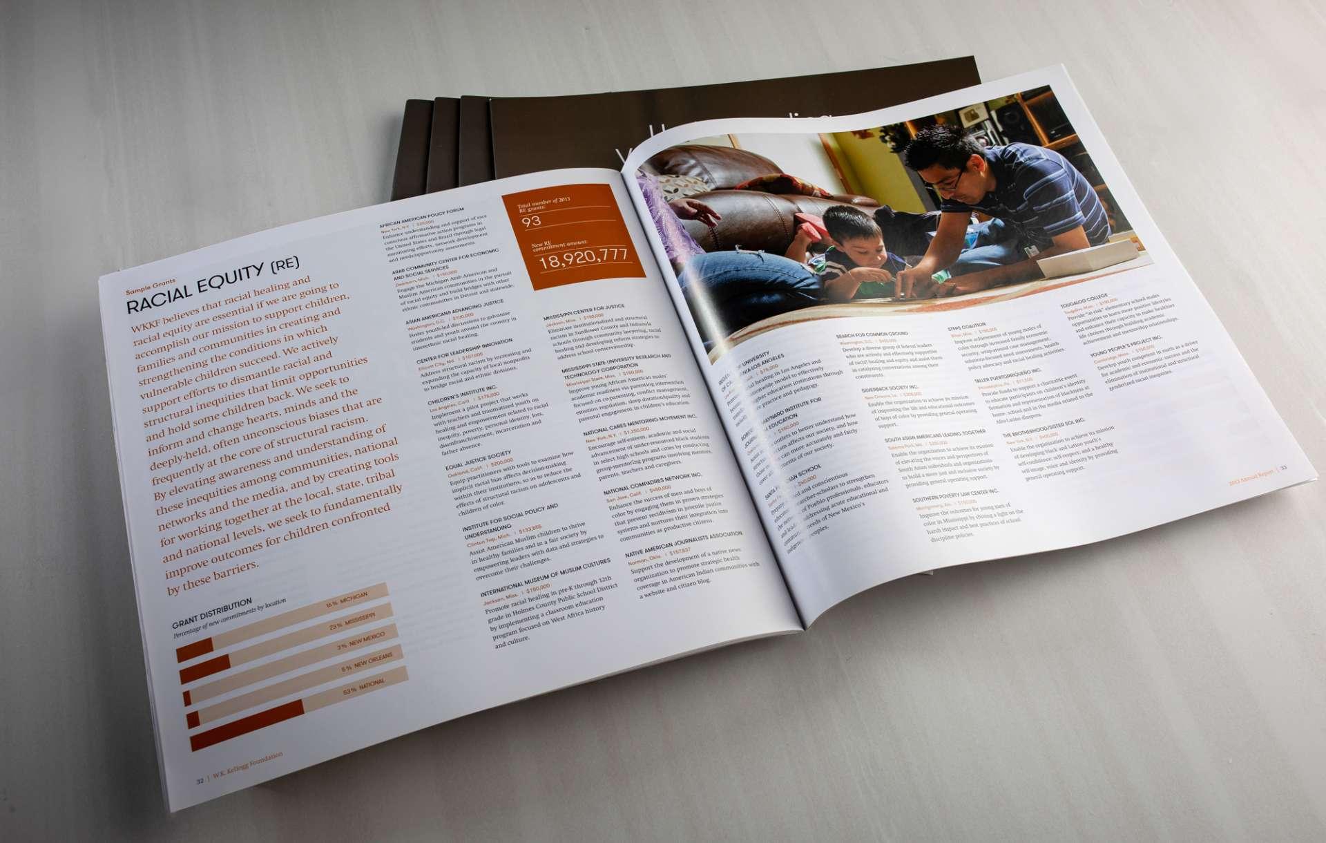 Annual report design for nonprofit WK Kellogg Foundation