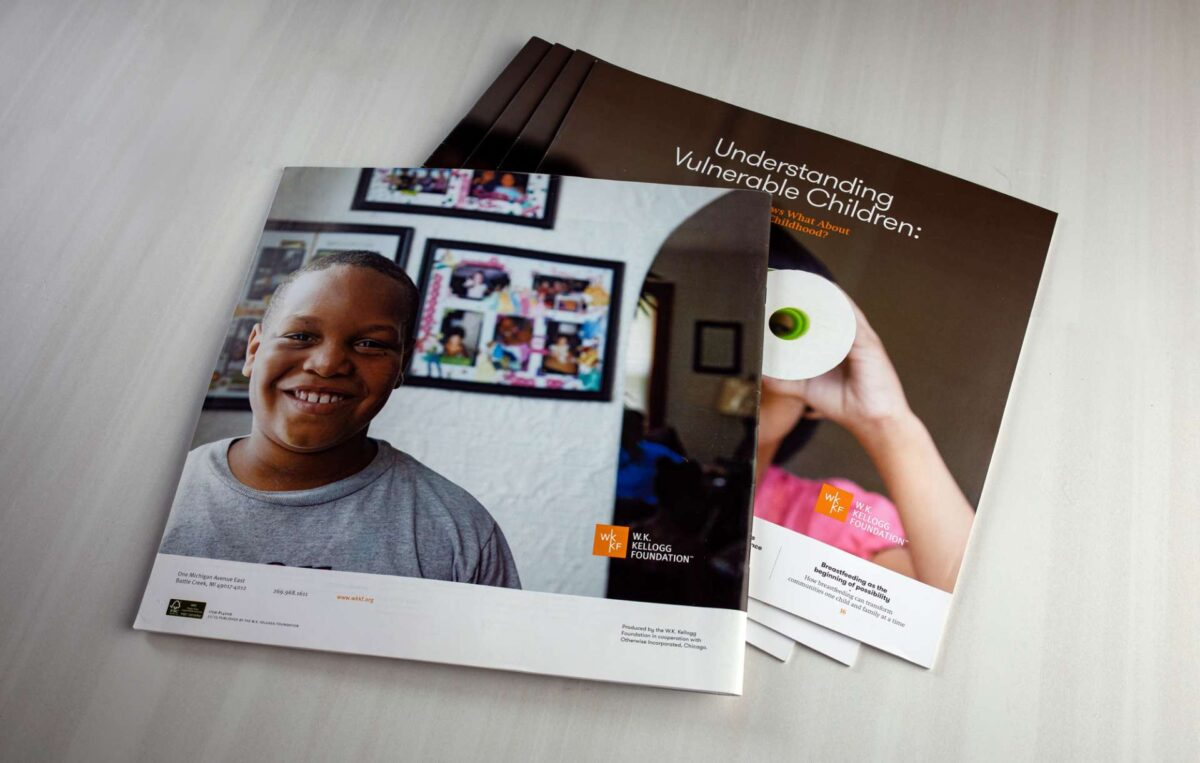 Annual report design back and front covers for WK Kellogg Foundation