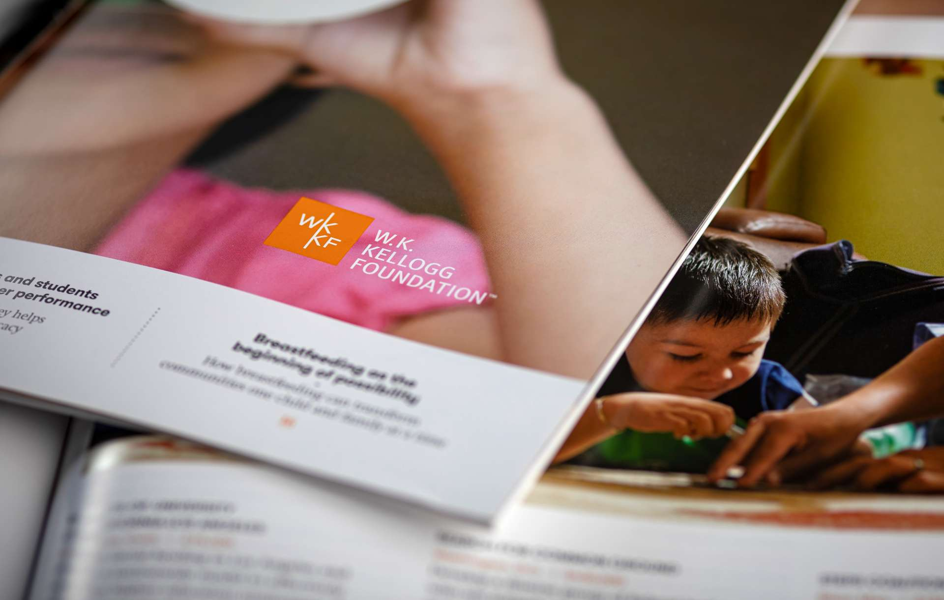 Close up detail of WK Kellogg Foundation annual report