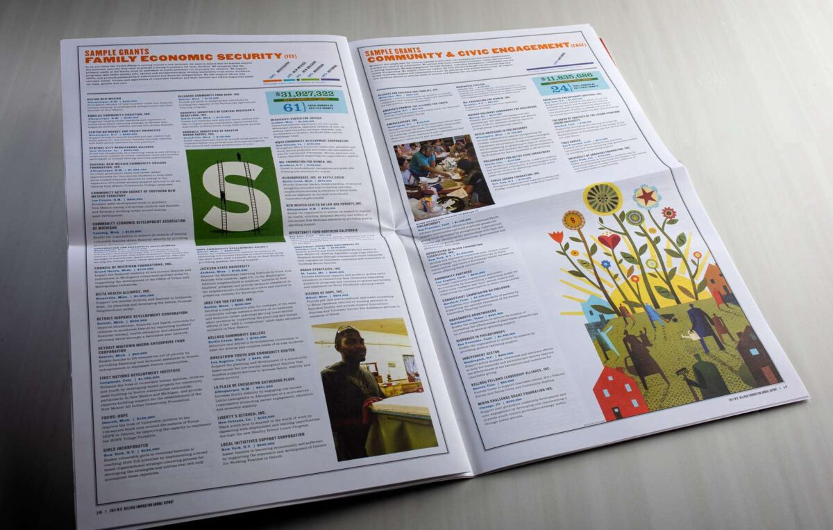 WK Kellogg Foundation annual report editorial spread