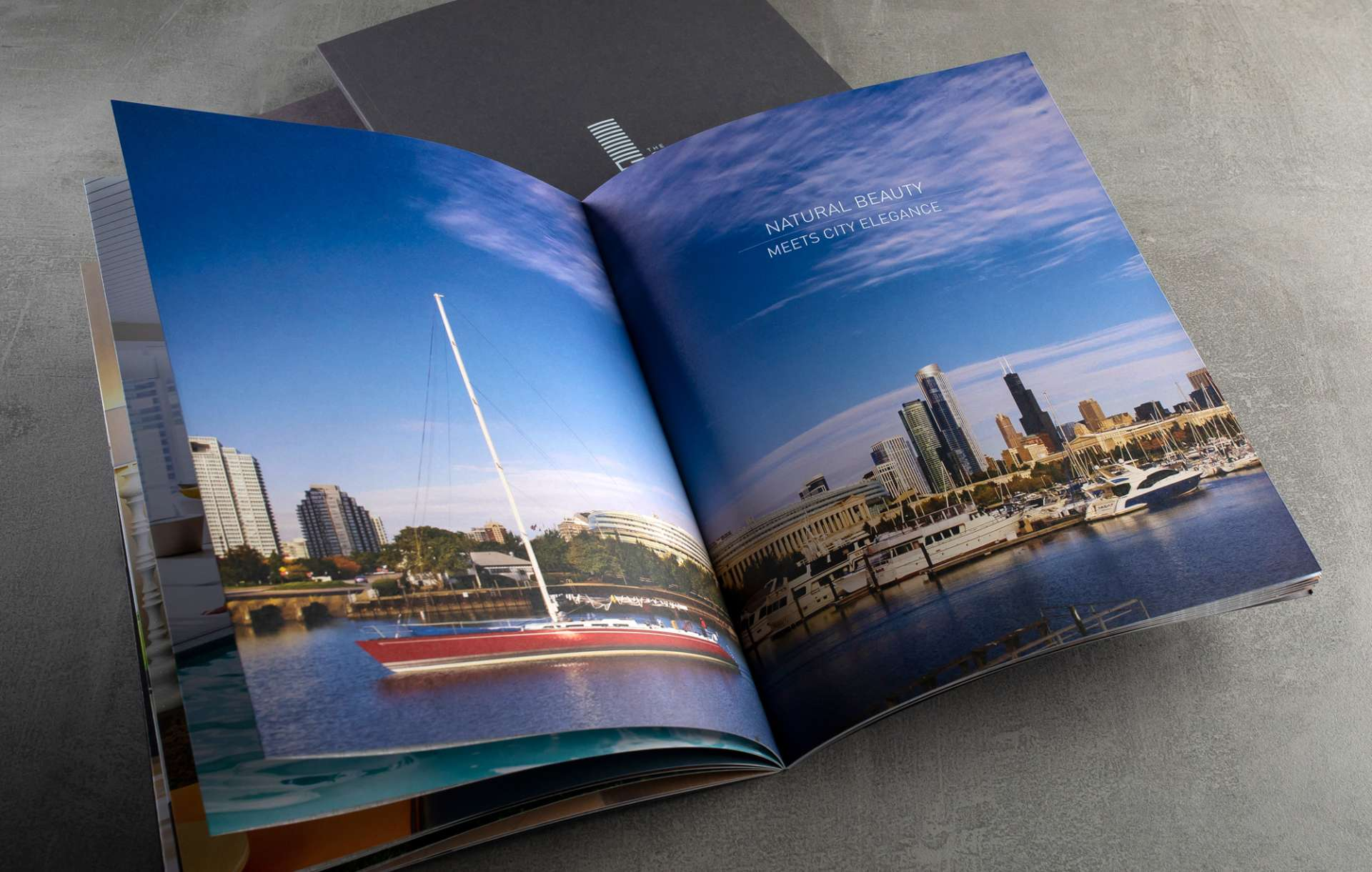Real estate branding print brochure design for South Loop Luxury by Related