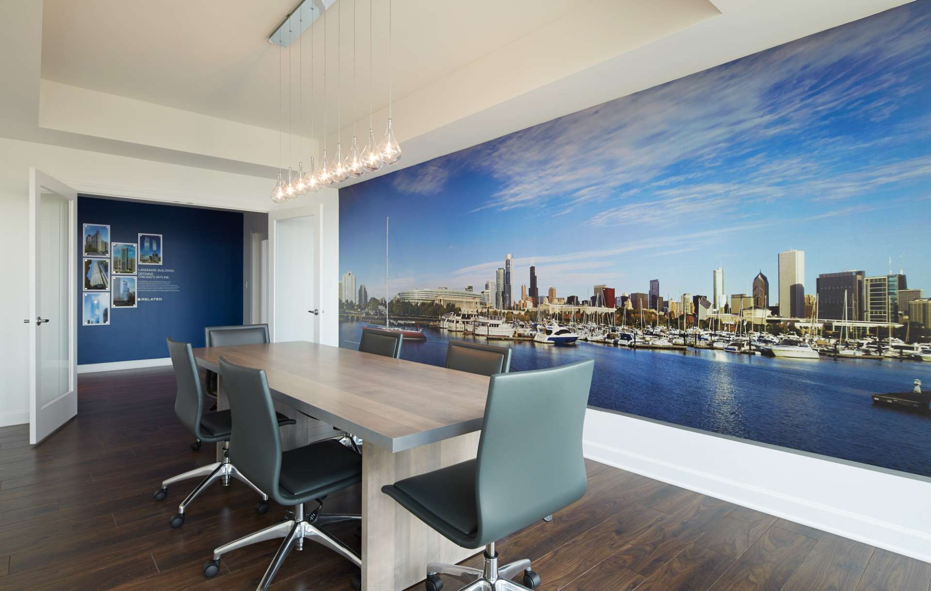Real estate branding sales center designed for South Loop Luxury by Related