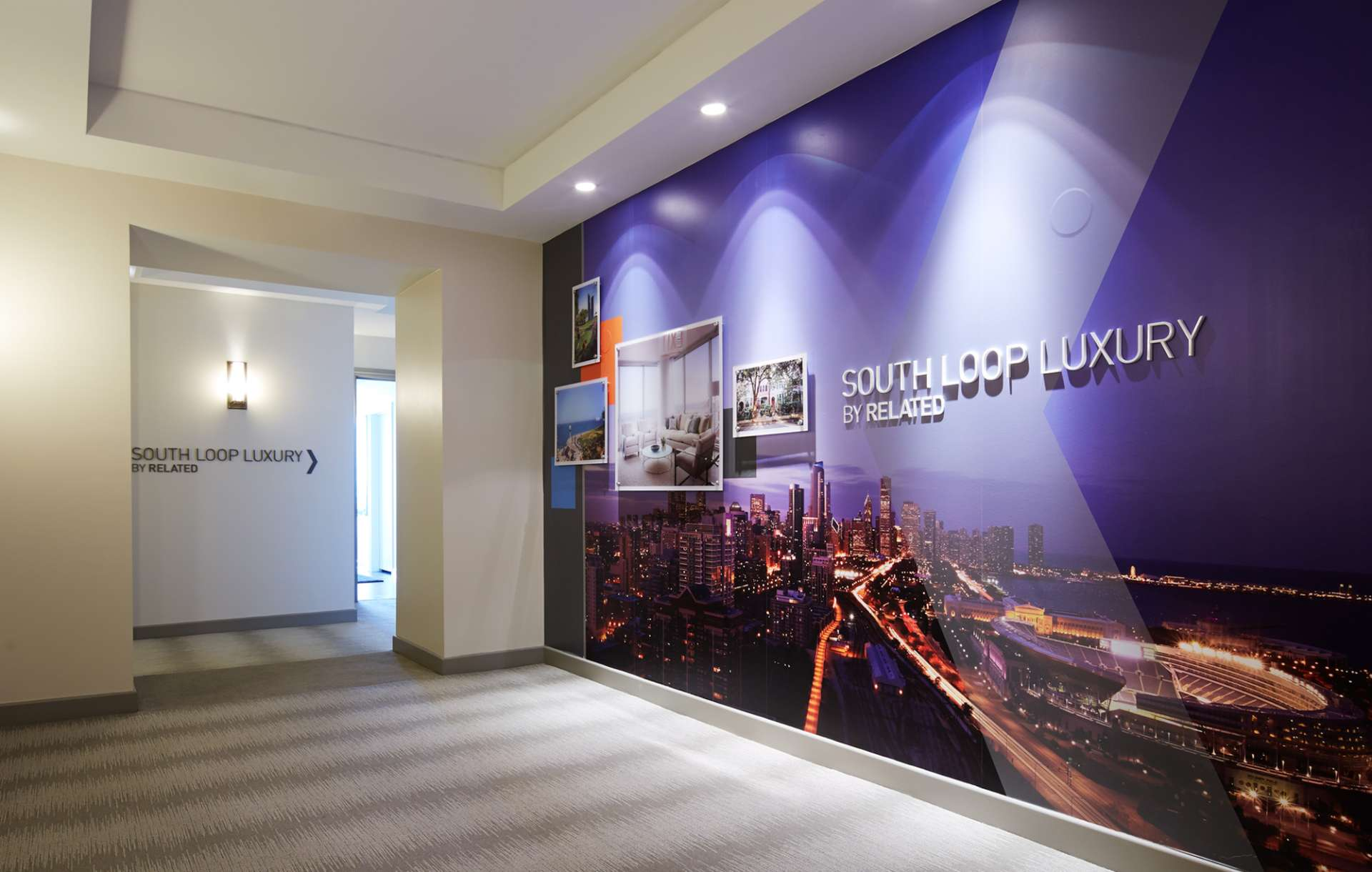Sales Gallery in-house advertising designed for South Loop Luxury by Related