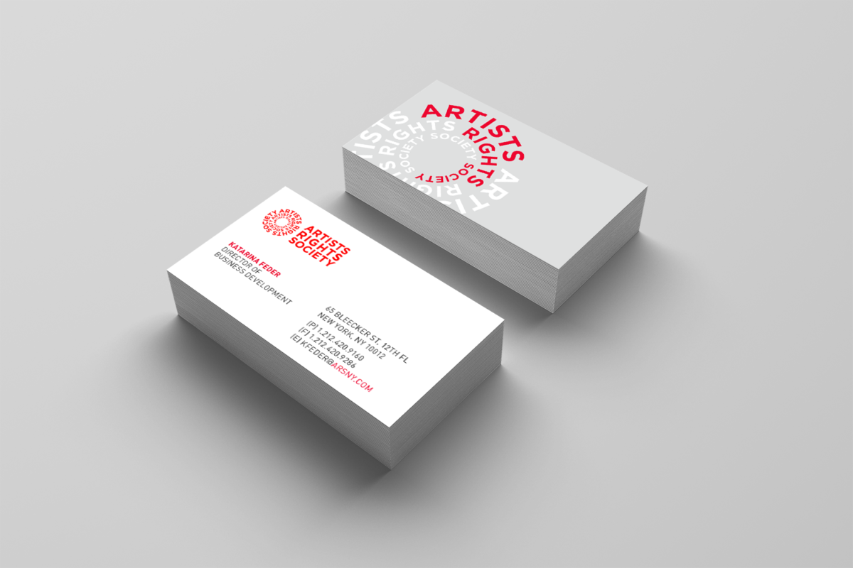 Business card design for Artists Rights Society rebrand