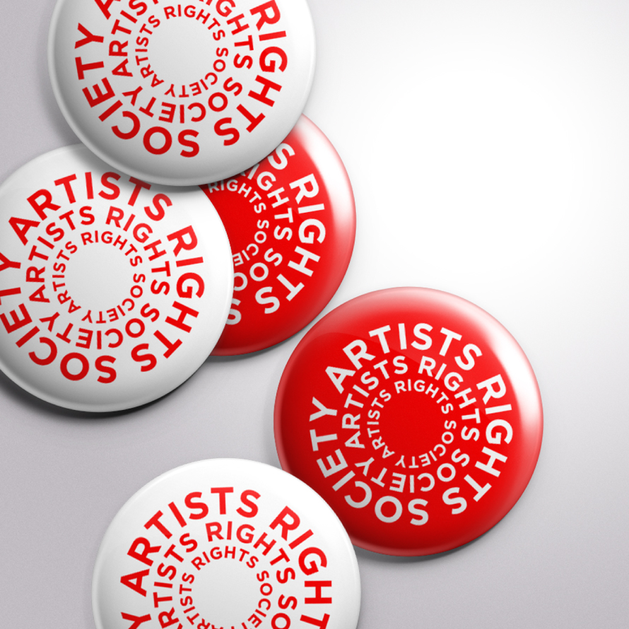 Artists Rights Society rebrand logo on buttons