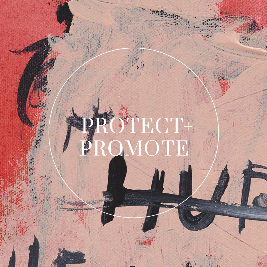 Protect + Promote tagline displayed in serif typeface and set on a painting