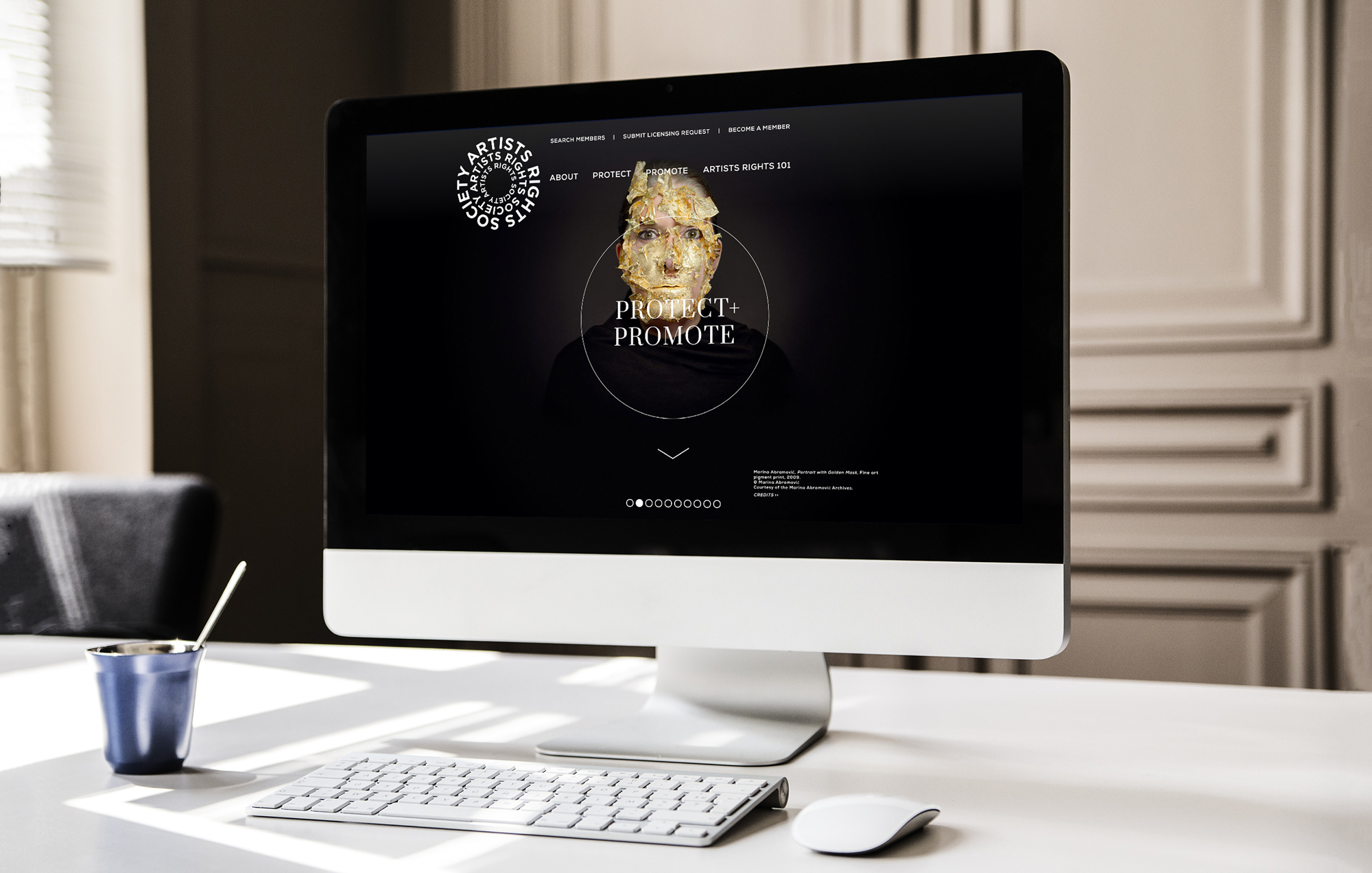 Website designed by Otherwise Inc for Artists Right Society displayed on a desktop computer