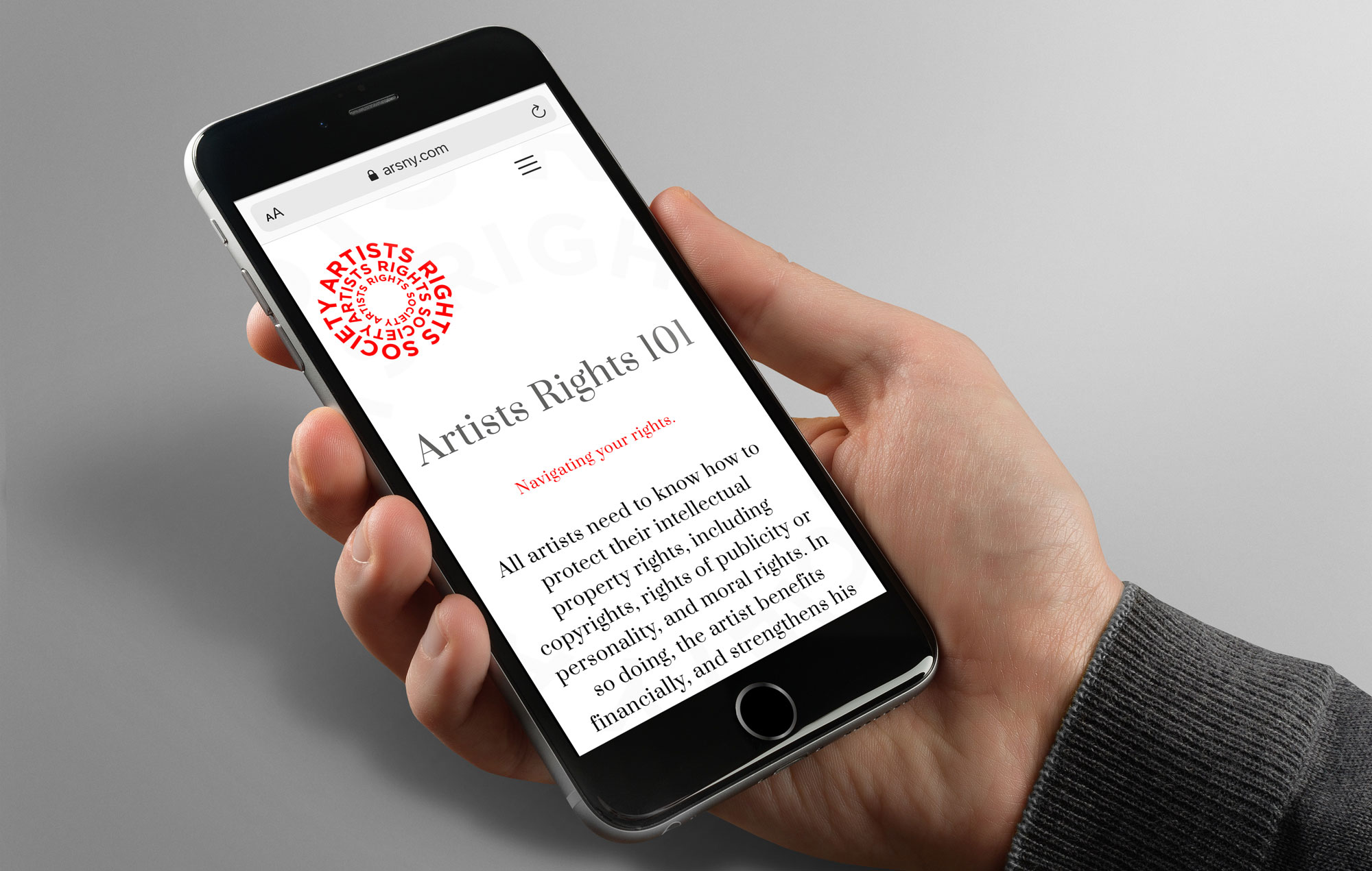 Artists Rights 101 website page design shown on mobile phone