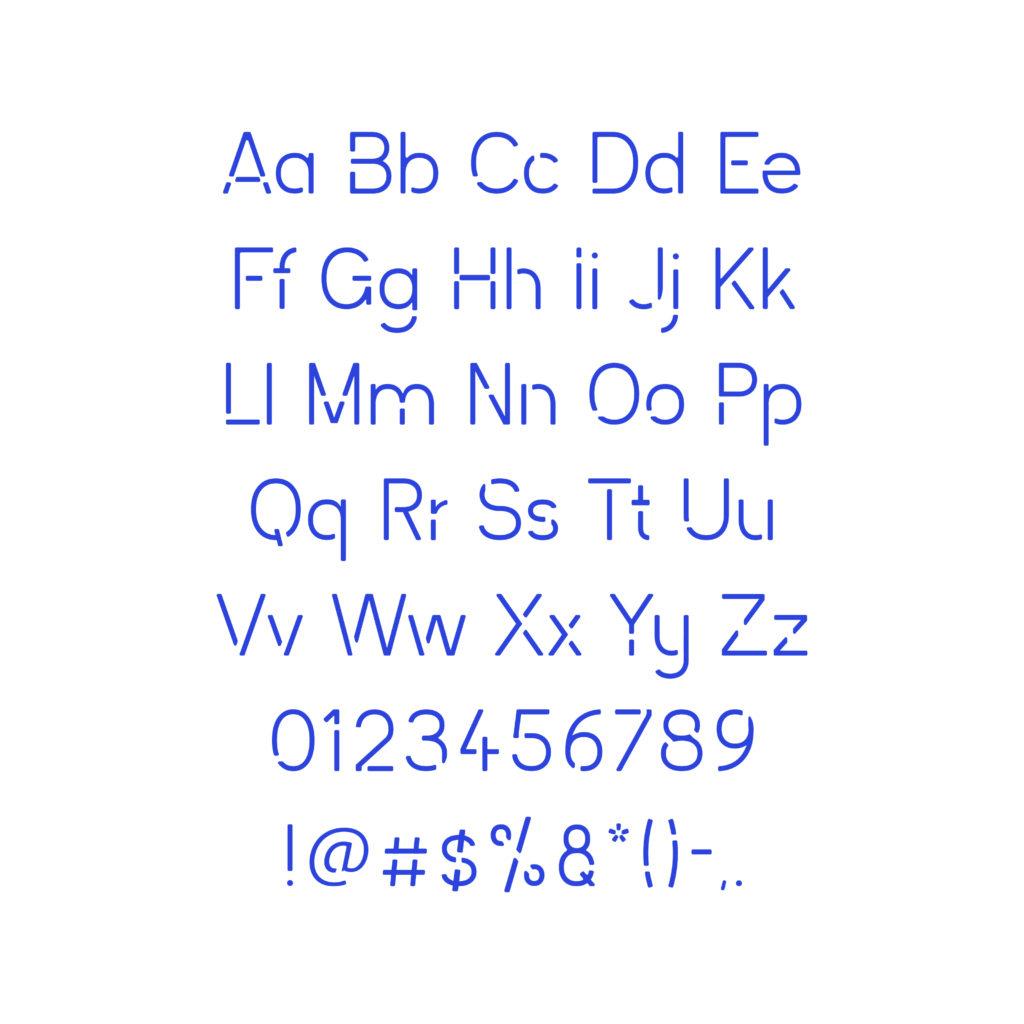 Distance Sans typeface alphabet