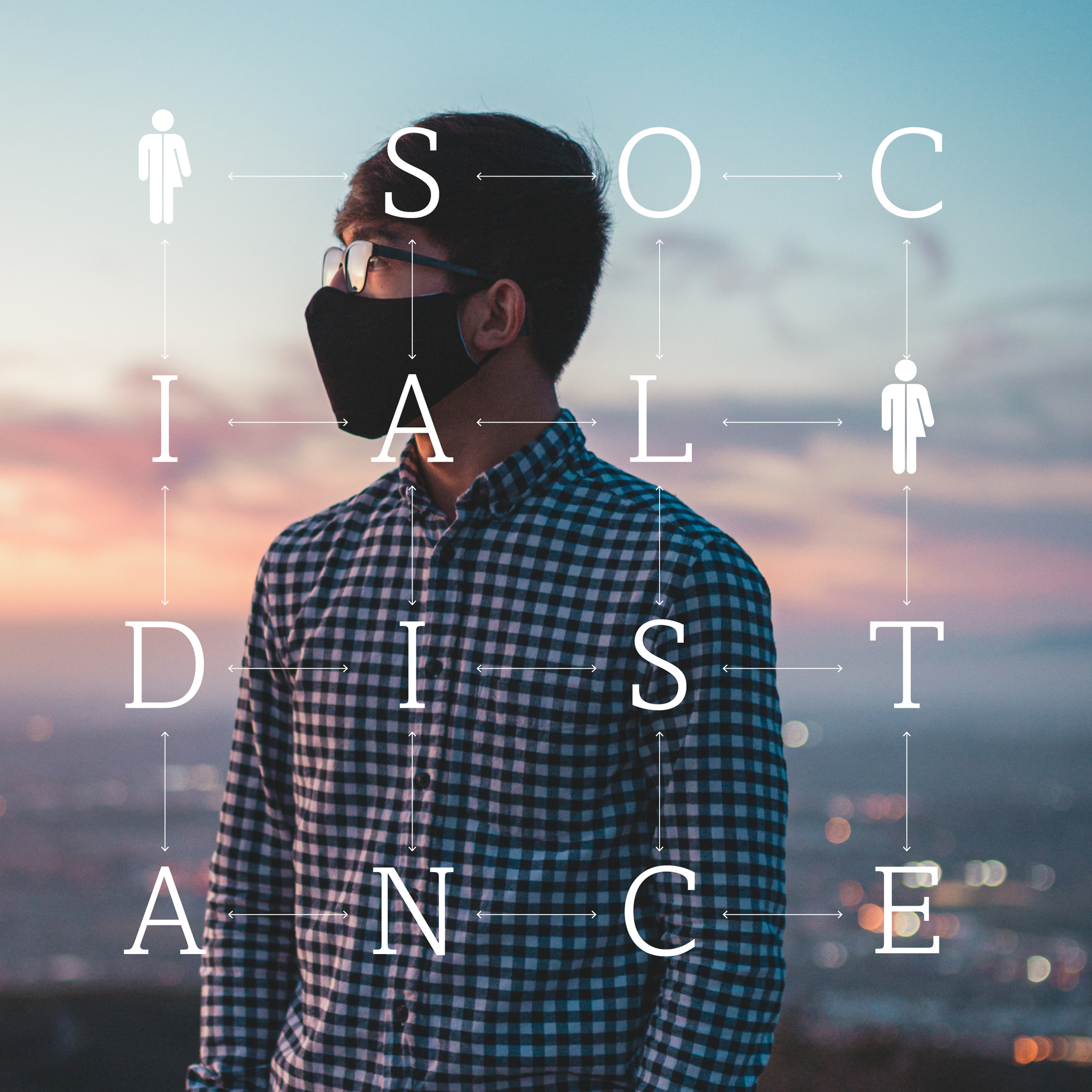 "Text with spaced out letters reads ""Social distance"" over a photo of a man wearing a mask"