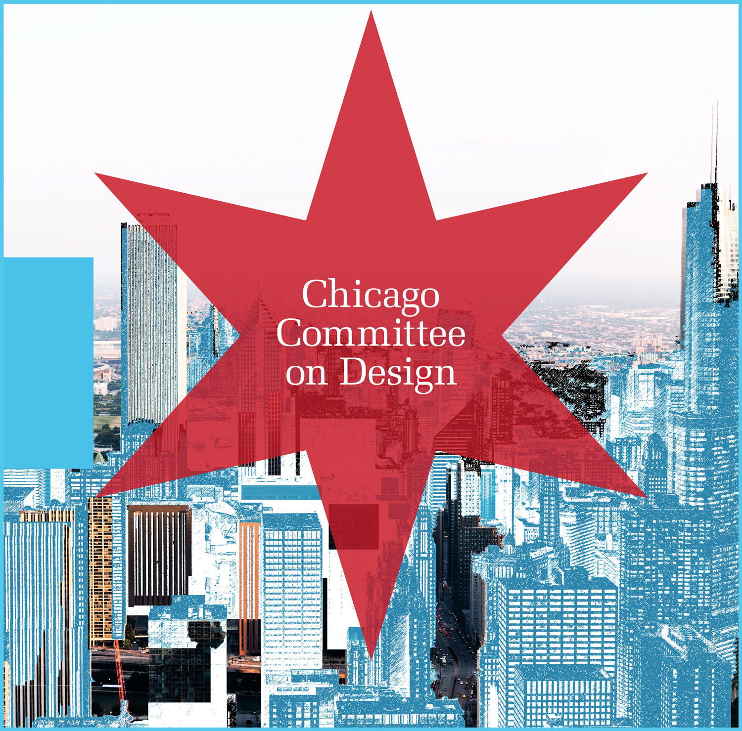 Illustration of Chicago skyline with red star