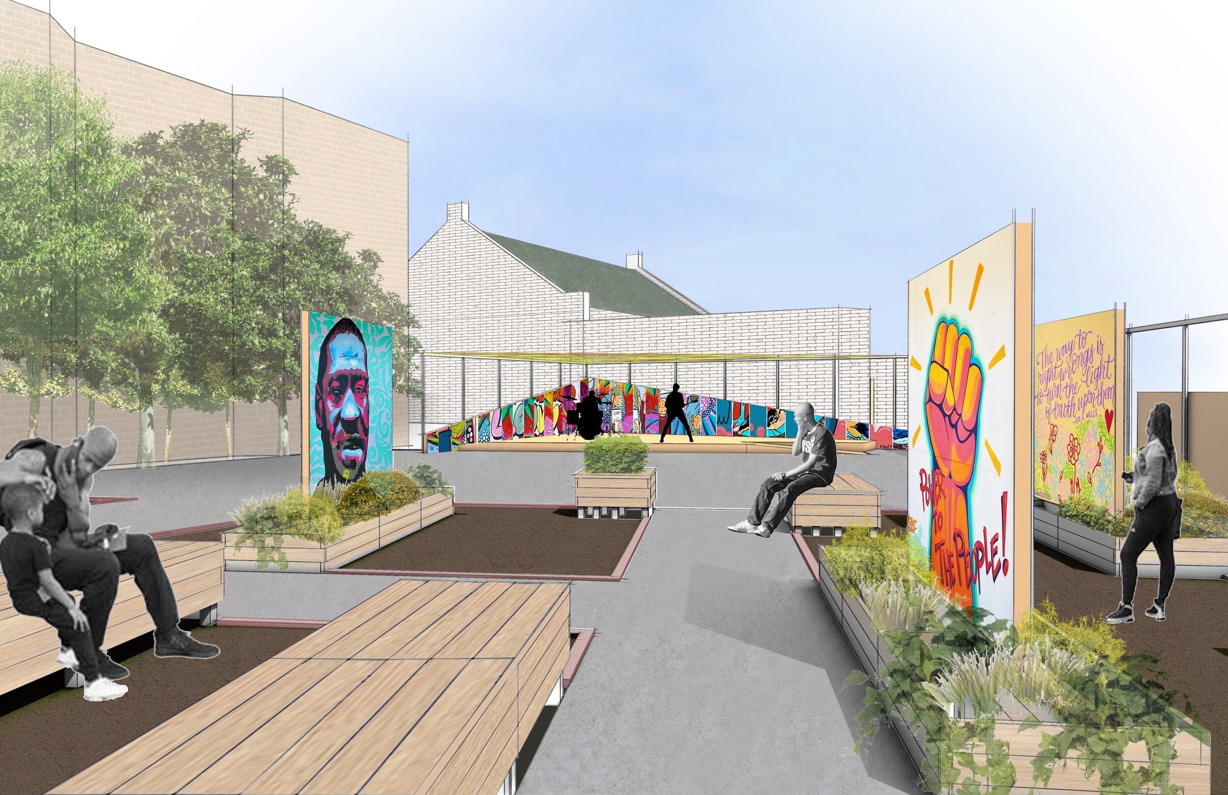 Architectural rendering of the Sounding Boards Garden at Harmony